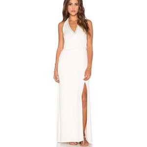 Ella Moss Maxi Halter Neck Trim Back Dress Cream